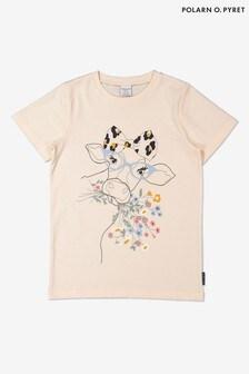 Polarn O. Pyret Cream Organic Cotton Cow Print T-Shirt