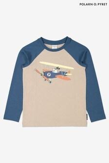 Polarn O. Pyret Grey GOTS Organic Airplane Print Top