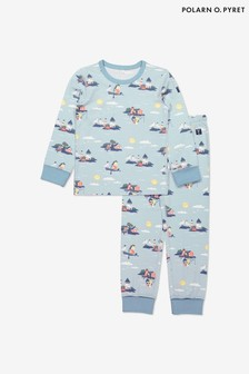 Polarn O. Pyret Blue Organic Cotton Seaside Print Pyjamas