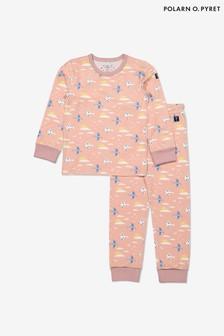 Polarn O. Pyret Purple Organic Cotton Bird Print Pyjamas
