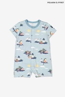 Polarn O. Pyret Blue Organic Cotton Seaside Print All-In-One Pyjamas