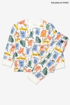 Polarn O. Pyret White Organic Cotton Animal Pyjamas