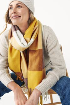 Check Tassel Mid Weight Scarf