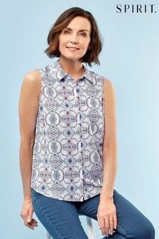 Spirit Blue Short Sleeved Tile Print Top