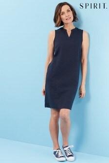 Spirit Blue Sleeveless Linen Blend Shift Dress