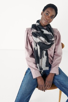 Foil Abstract Print Lightweight Scarf