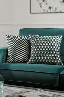 Green 2 Pack Cut Velvet Cushion Covers