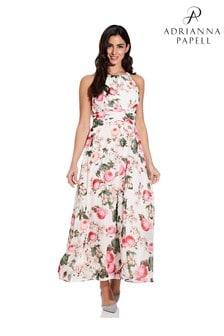Adrianna Papell Pink Rose Magnolia Chiffon Dress
