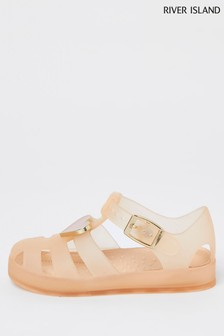 River Island Pink Heart Trim Jelly Sandals
