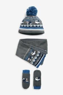 3 Piece Hat, Gloves & Scarf Set (3mths-6yrs)