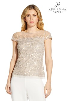 Adrianna Papell Nude Beaded Separates Top