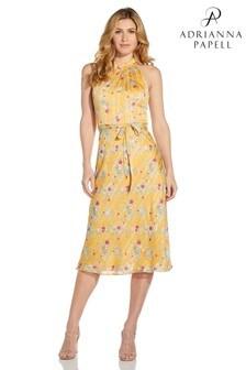 Adrianna Papell Yellow Floral Chiffon Bias Midi Dress