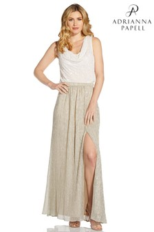 Adrianna Papell Natural Metallic Crinkle Knit Skirt