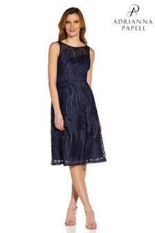 Adrianna Papell Blue Ribbon Embroidered Cocktail Dress