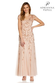 Adrianna Papell Natural Beaded Godet Gown