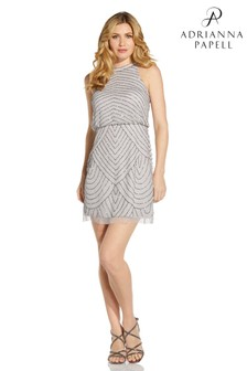 Adrianna Papell Silver Halter Bead Cocktail Dress