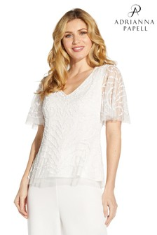 Adrianna Papell White Beaded Flutter Sleeve Top