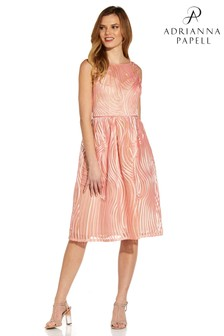Adrianna Papell Pink Ribbon Embroidered Cocktail Dress