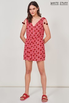White Stuff Pink Ikat Crinkle Woven Playsuit