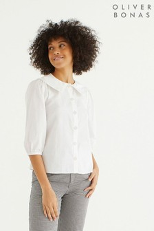 Oliver Bonas Fashion Collar White Poplin Shirt