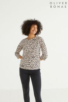 Oliver Bonas Neutral Animal Print Three Quarter Sleeve T-Shirt