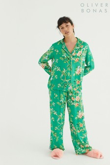 Oliver Bonas Floral Green Long Shirt & Trouser Pyjama Set