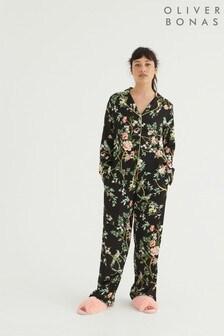 Oliver Bonas Floral Black Long Shirt & Trouser Pyjama Set
