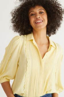 Oliver Bonas Broderie Detail Short Sleeve Shirt