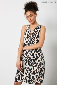 Mint Velvet Cream Lucia Animal Print Cocoon Dress