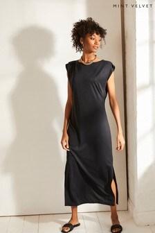 Mint Velvet Grey Jersey Column Midi Dress