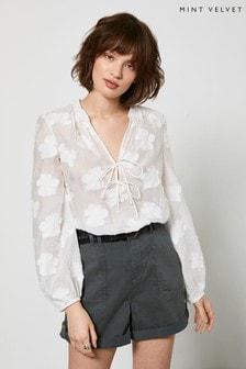 Mint Velvet Off-White Floral Jacquard Blouse
