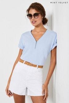 Mint Velvet Blue Zip Batwing Knitted Top
