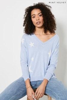 Mint Velvet Blue Star Boxy V-Neck Jumper