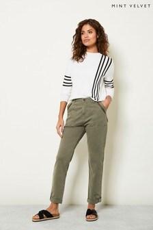 Mint Velvet Khaki Zip Utility Chino Trousers