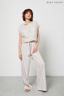 Mint Velvet Cream Striped Wide Leg Trousers