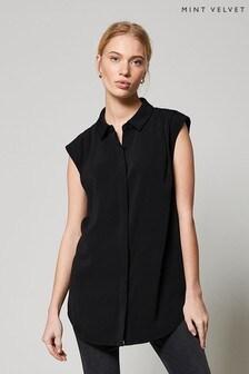 Mint Velvet Black Sleeveless Pleated Shirt