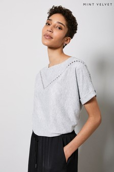 Mint Velvet Grey Studded Batwing Knitted Top