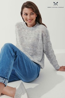 Crew Clothing Company Natural Pointelle Jumper