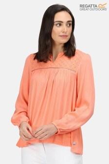 Regatta Orange Calixta Long Sleeve Broderie Blouse