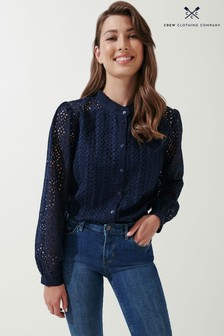 Crew Clothing Company Natural Broderie Shirt