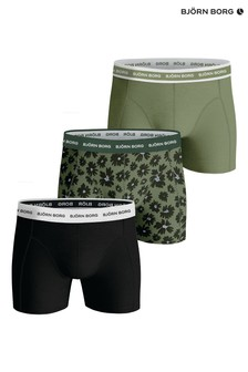 Bjorn Borg Green BB Fourflower Sammy Shorts 3 Pack