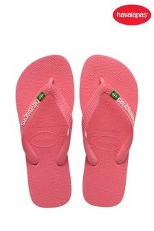 Havaianas Pink Brasil Logo Flip Flops