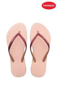 Havaianas Pink Slim Sparkle II Flip Flops