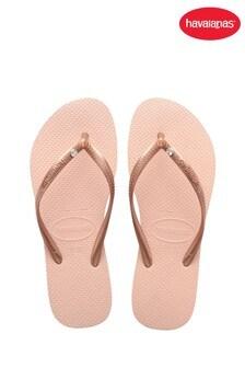 Havaianas Pink Slim Crystal Sw Ii Flip Flops