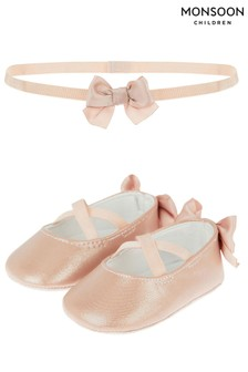 Monsoon Pink Baby Valerie Booties And Bando Set