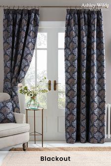 Ashley Wilde Blue Kimpton Blackout Pencil Pleat Curtains