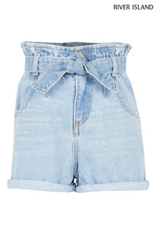 River Island Blue Diamond Paperbag Shorts