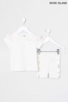 River Island Pink Satin Frill T-Shirt And Shorts Set