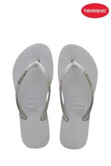 Havaianas Grey Kids Slim Glitter II Flip Flops