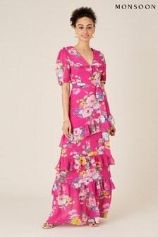 Monsoon Pink Vivenne Floral Maxi Dress